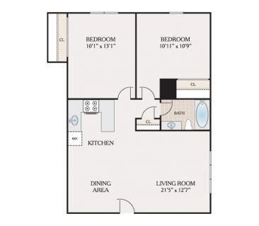 2 Bedroom 1 Bathroom. 650 sq. ft.